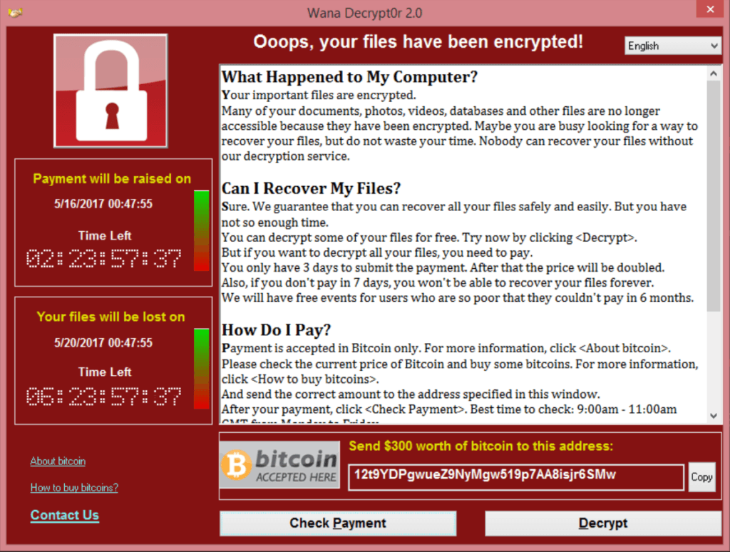Wannacry Ransomware Screenshot Example